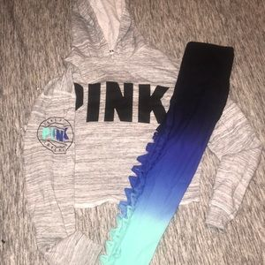 PINK crop top hoodie with leggings to match